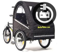 Vores Bella2 el ladcykel her med lukket kaleche