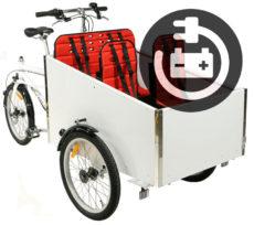 Hvid institutionsladcykel med elmotor fra BellaBike