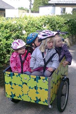 Pigerne sidder i ladcyklen og er meget nysgerrige.